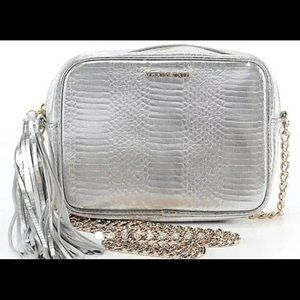 Victoria's Secret Silver Faux Leather Crossbody